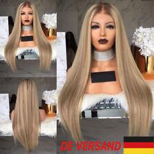 """29.5"""" Damen Gerade Blonde Langhaarperücke Glatt Echthaar Perücken Cosplay Wig DE"""