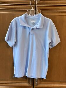 """Boys XL 14/16 LT BLUE cotton polo S/S top shirt school Uniform 23"""" L chest 36"""""""