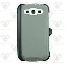 For Samsung Galaxy S3 Gray White Defender Case (Belt Clip Fits Otterbox)