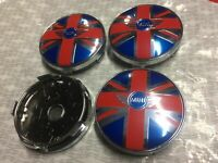 4X MINI WING Flag 60mm WHEEL CENTRE HUB CAPS BADGE Blue/Red New Style COOPER ONE