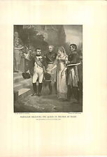 1897 Napoleon Bonaparte Receiving The Queen Louise de Prussia At Tilsit PRINT