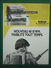 12/85 PUB IVECO FIAT MAGIRUS VEHICULE TOUT TERRAIN 40-10 WM AMPHIBIE FRENCH AD