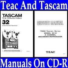 TASCAM 32, 34, 34B, 38, 58 TAPE DECK MANUALS ON CD-R