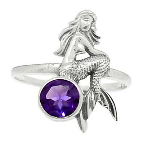 Mermaid - Amethyst - African 925 Sterling Silver Ring Jewelry s.8 BR95084