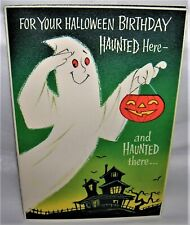 Vintage 1950's Rust Craft Halloween Greeting Card Ghost, Haunted House Lift Flap