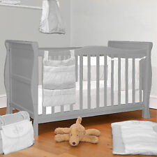 4BABY GREY WOOD 3 IN 1 SLEIGH COT BABY COTBED CONVERTS TO JUNIOR TODDLER BED