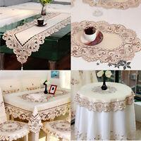 Vintage Stickerei Spitze Tischdecke Tischläufer Mitteldecke Deckchen Hochzeit