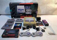 Super Nintendo console SNES bundle w 4 games lot Super Mario World, Mega Man X