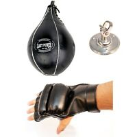 BOXING SPEEDBALL w/ FINGERLESS GLOVES & SWIVEL MMA Punching Bag Speed Ball Set