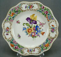Carl Thieme Dresden Hand Painted Floral & Gold Reticulated 10 3/8 Dinner Plate