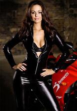 Ladies Sexy Black Faux Leather Wet Look Bodysuit Jumpsuit Catsuit Size 8-10