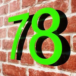 HOUSE NUMBER 2 Arial Acrylic Large Floating Cool Stylish Modern Gloss Black DIY