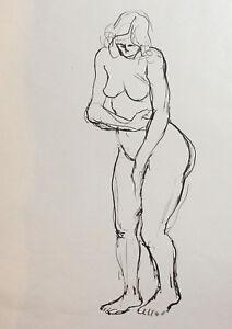 Vintage modernist nude female portrait ink painting
