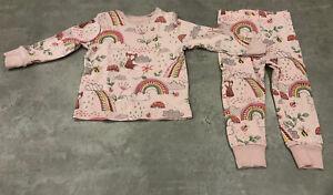 NEXT Baby Girls Age 1.5-2 Years Rainbow & Fox 2 Piece Pyjamas - Great Condition
