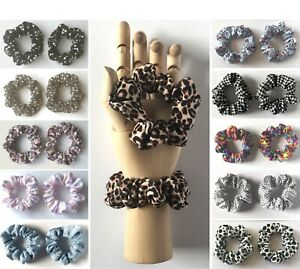 2 x SMALL SCRUNCHIES / Prints / Lace - (Child / Thin Hair)  *HANDMADE IN UK*