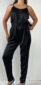 NANA JUDY Black Satin Sleveless Tapered Leg Belted Jumpsuit Size XL AU 14 Party