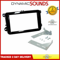CTKVW17 Black Double Din Car Stereo Fascia Facia Fitting Kit For VW Caddy 2015/>