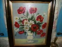 VINTAGE POPPIES DAISIES OIL PAINTING 1940's STUNNING DETAIL WOOD GILT FRAME