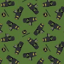 John Deere Tossed Tractor & Logo 100% Cotton Fabric by the Yard