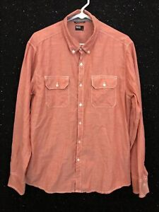 BKE Buckle Mens Sz L Standard Fit Orange Long Sleeve Casual Button Down Shirt