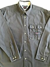 Tommy Jeans Hilfiger Mens Size XL Vintage Corduroy Navy Blue Shirt Silver Button