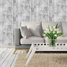 STAG WOOD PANEL WALLPAPER ROLLS GREY / SILVER - HOLDEN 90090
