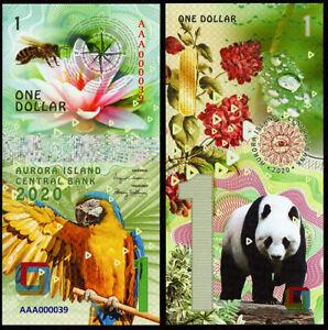 1 DOLLAR AVRORA ISLAND panda POLYMER COLLECTION BANKNOTE UNC UNCIRCULATED