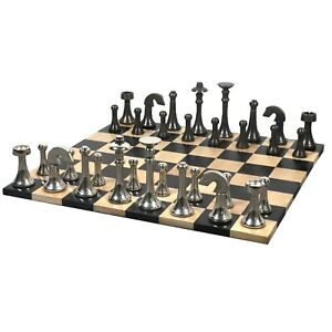 """3.1"""" Contemporary Brass Chess Pieces with Roll up Ebony & Maple Wood chess board"""