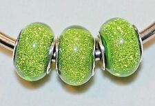 3x GLITTER SPARKLE GREEN ACRYLIC SILVR BEADS LOT R5 FIT EURO DIY MURANO CHARM BR