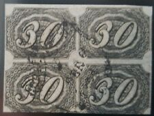 O) 1844 BRAZIL, INCLINADOS - INCLINED 30 reis black - SC 8, BLOCK OF 4 USED XF