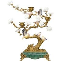 PORCELAIN IN BRONZE ORMOLU SONG BIRDS CANDLE STAND CANDLESTICK HOLDER w flowers