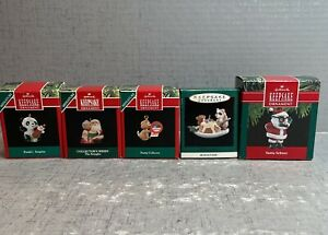 Lot of 5 Hallmark Keepsake Miniature Christmas Ornaments 1990's EUC