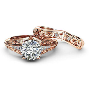 14K Solid Rose Gold Solitaire 1.30 Ct Diamond Wedding Band Sets Size 4 5 6.5 7
