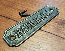 Natural Cast Iron Wall Mounted BATHROOM Plaque For Door - Toilet Loo Garden Sign