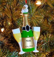 Wedding Couple Champagne Toast - 1st Personalized Christmas Wedding Ornament