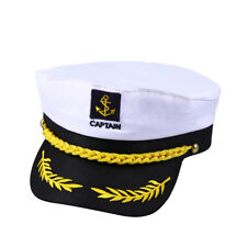 Adult Party Costume Yacht Captain Hat Skipper Sailor Boat Ship Captain Cap White