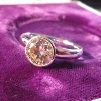 Eleganter 925 Silber Ring Zirkonia Solitär Wie Diamant Klassisch Chic Champagner