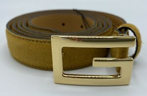 """Gucci Golden """"G"""" Buckle Suede Khaki Belt 115/46 Made in Italy"""