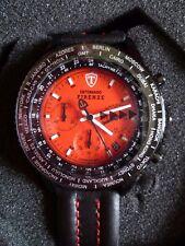 Men's Detomaso Firenze Watch Chronograph IPB Red Dial black Strap BN Tin & Box