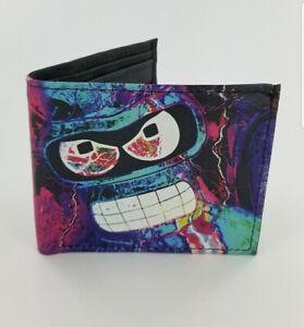 Handmade BENDER FUTURAMA Inspired Men's Leather Money Wallet,Fully Laserprinted,
