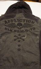 Mens Affliction Black Premium Hooded Front Zipper/Snap Black Denim Jacket Sz XL