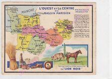 Chromo LION NOIR CARTE GEOGRAPHIQUE L OUEST LE CENTRE DU BASSIN PARISIEN