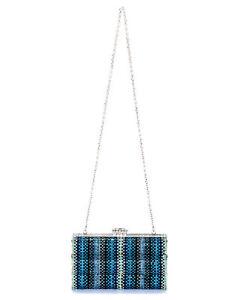 Judith Leiber Figure Eight Blue Crystal And Leather Clutch Handbag M169301 $3695