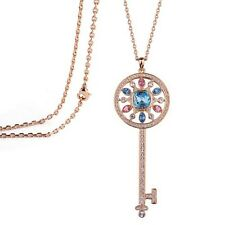 18K Yellow GOLD GP Made With SWAROVSKI Elements Multi Color CRYSTAL Key NECKLACE