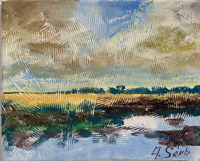 Sunny Spring Painting River Clouds California Impressionist LANDSCAPE Semberecki