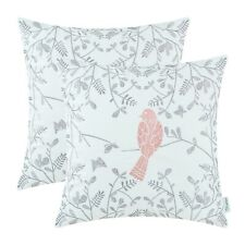 """2Pcs Coral Pink Floral Embroidered Bird Cushion Covers Pillow Shells Home 16x16"""""""