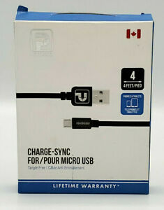 Open Box 4FT / 1.2M Micro USB Charging-Sync Cable by Powerology Black
