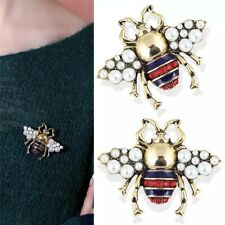 ZARD Bumble Bee Pin Brooch with White Pearl and Crystal Accents in Vintage Gold