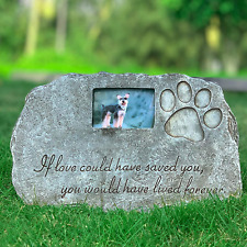 Black Pet Tombstone Dog or Cat Memorial Stone Personalized with Waterproof Photo