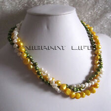 """18"""" 4-9mm 3Row Multi Color Baroque Freshwater Pearl Necklace B U"""